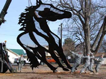 Photo of ECU's new horse sculpture.
