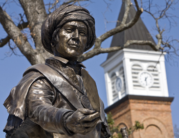 Photo of Sequoyah bronze statue on the NSU campus.