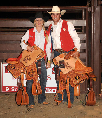 Photo of OPSU rodeo winners Jordan Muncy and Seth Schafer.