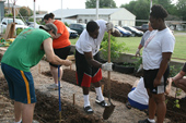 Photo of USAO students doing Service Learning project.