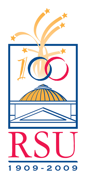 Photo of RSU centennial logo.