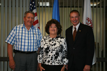 Photo of new OCCC regent Teresa  Moisant, chairman Bill White and President Paul Sechrist.