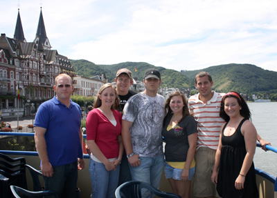 Photo of Eastern Oklahoma State College's livestock judging team in Scotland.